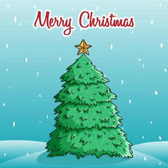 Cute christmas tree in snowflake with merry christmas text