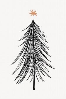 Симпатичная рождественская елка наклейка, рисованной каракули в черном векторе