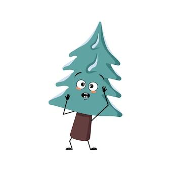 공황 상태에 빠진 감정이 있는 귀여운 크리스마스 트리는 머리, 놀란 얼굴, 놀란 눈, 팔, 다리를 움켜잡습니다. 새해 축제 장식, 겁 먹은 표정으로 전나무