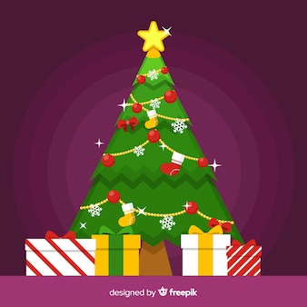 Cute christmas tree with presents