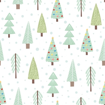 Cute christmas trees seamless pattern. vector illustration