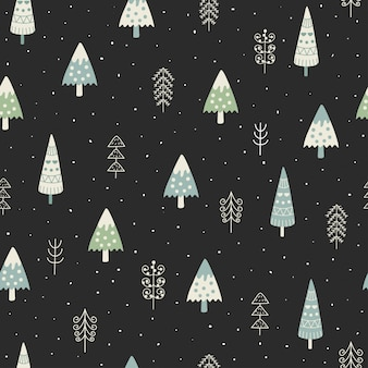 Cute christmas trees and winter landscape seamless pattern.