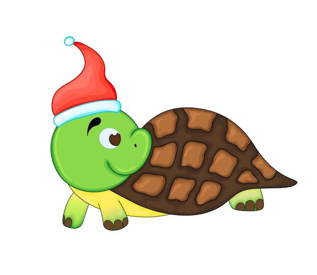 Милая рождественская черепаха. векторные иллюстрации шаржа. eps