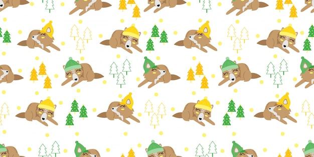 Cute christmas winter fox seamless pattern