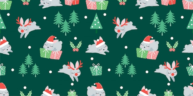 Cute christmas winter rabbit seamless pattern
