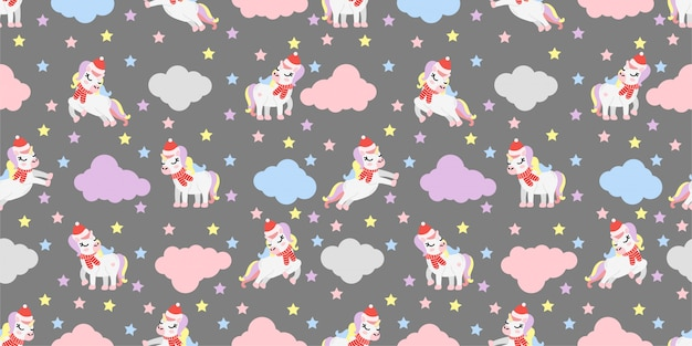 Cute christmas winter unicorn seamless pattern