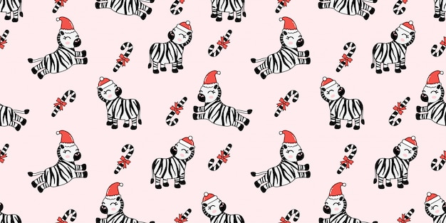 Cute christmas winter zebra seamless pattern