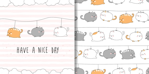 Cute chubby cat cartoon doodle seamless pattern and card cover