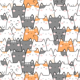 Cute chubby cat cartoon doodle seamless pattern