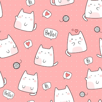 Cute chubby cat kitten cartoon doodle seamless pattern