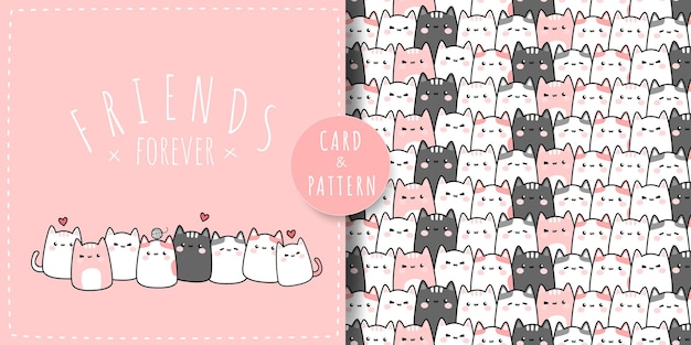 Cute chubby cat kitty friends cartoon doodle flat design pink pastel theme card and seamless pattern