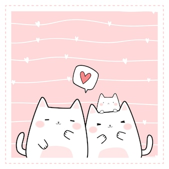 Cute chubby family cat cartoon doodle frame