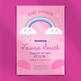 Cute chuva de 사랑 베이비 샤워 초대장