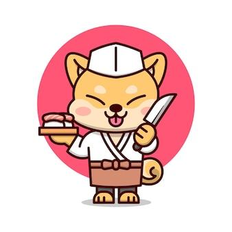 일본 스시 마스터 의상의 귀여운 시바 이누 마스코트. 식품 비즈니스 또는 회사 로고에 적합합니다.