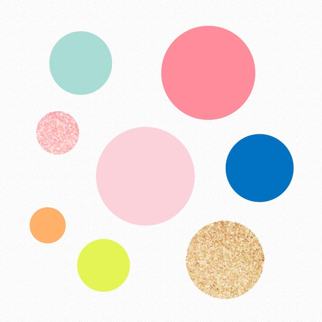 Simpatico adesivo a forma di cerchio, glitter pastello colorato, set vettoriale di clipart geometriche