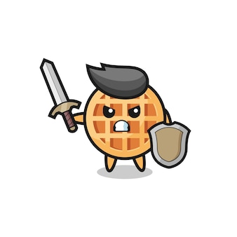 Cute circle waffle soldier fighting with sword and shield , cute design