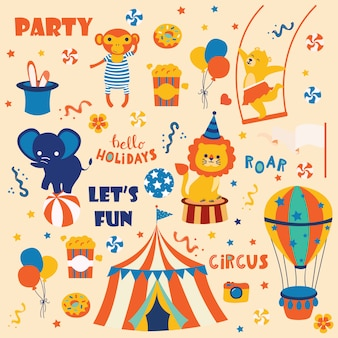 Cute circus animals collection.