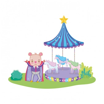 Cute circus bear with layer and carousel