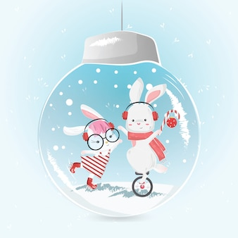 Cute circus bunny in the christmas bulb