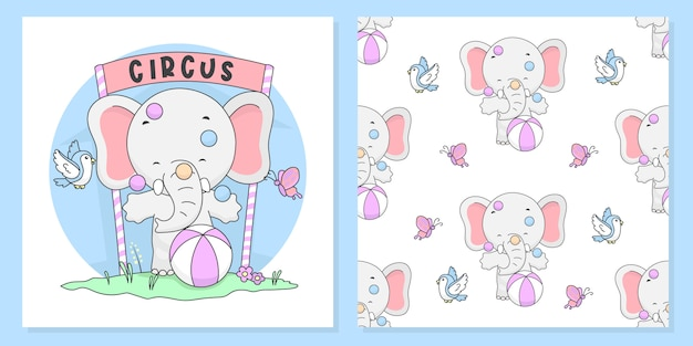 Cute circus elephant  with pattern