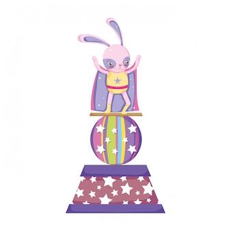 Милый цирковой кролик со слоем на сцене