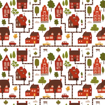 Симпатичные городские дома бесшовные модели