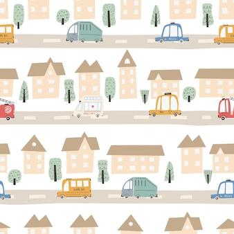 도로와 교통수단이 있는 귀여운 도시 지도. 벡터 완벽 한 패턴입니다. 유치한 손으로 그린 스칸디나비아 스타일. 보육실, 섬유, 벽지, 포장, 의류용. 디지털 페이퍼