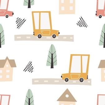 道路と交通機関のあるかわいい都市地図。ベクトルのシームレスなパターン。幼稚な手描きのスカンジナビアスタイル。保育室、テキスタイル、壁紙、包装、衣類に。デジタルペーパー