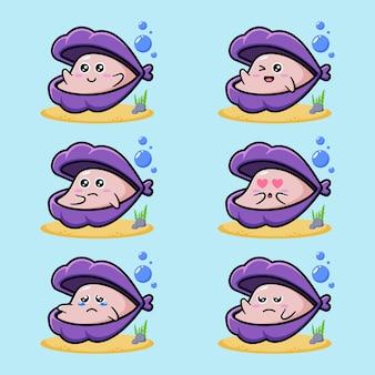 Набор милых персонажей-моллюсков