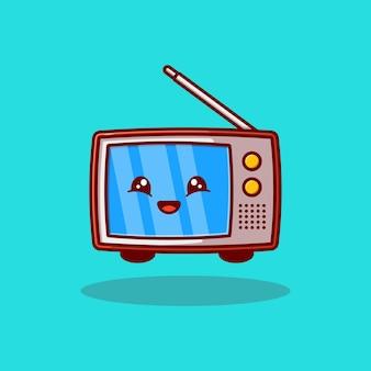 Cute classic television character mascot vector illustration design