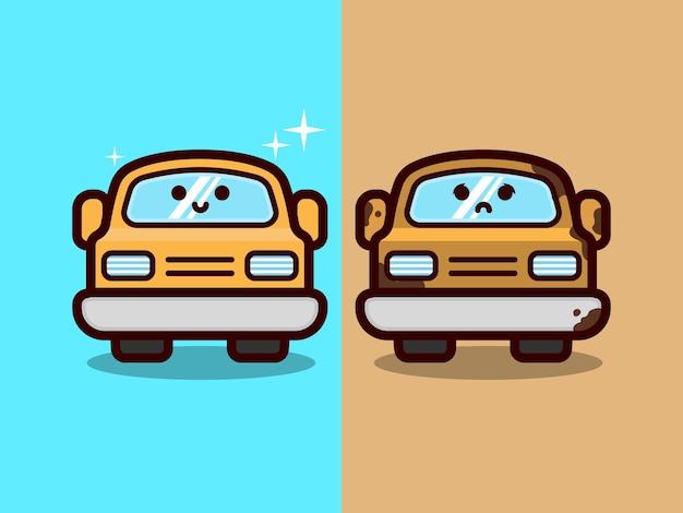かわいいきれいで汚れた車、洗車、メンテナンス、および自動車のマスコットデザインイラスト