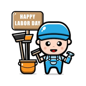 Cute cleaning service worker character labour day concept illustration
