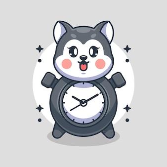 かわいい時計のハスキー犬の漫画のデザイン
