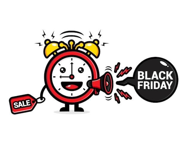 メガホンを使用して黒い金曜日を叫んでいるかわいい時計