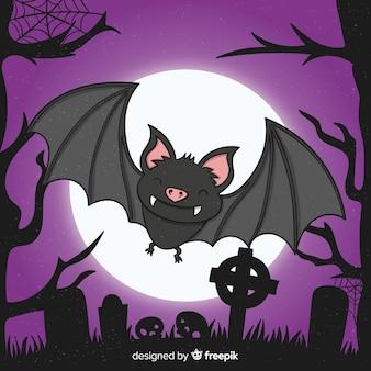 Cute close-up smiley halloween bat