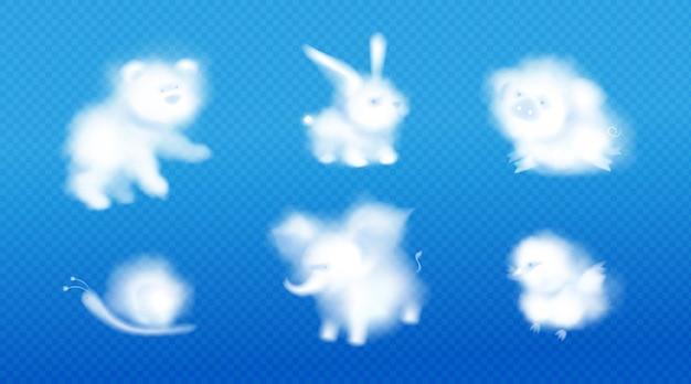 Милые облачные животные на синем