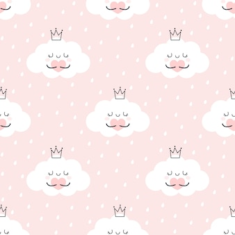 Cute cloud hugging heart seamless pattern background
