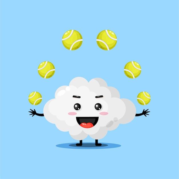 Cute cloud mascot playing tennis ball