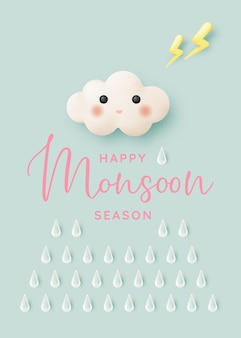 Cute cloud for monsoon season with pastel color scheme and paper art style vector illustration