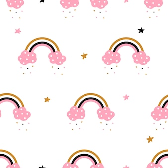 Cute, cloud, rainbow - seamless pattern.