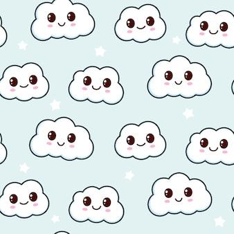 Cute cloud seamless pattern design