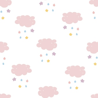 かわいい雲シームレスパターンベクトル背景手描きスタイル