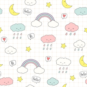 Cute cloud and stars cartoon doodle seamless pattern