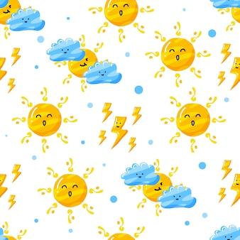 平らな手描きスタイルのかわいい雲、雷、太陽のシームレスなパターンデザイン