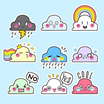 Cute cloud vector sticker, cloud emoticon