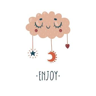 Милое облако с луной, звездой и сердцем для детской комнаты. надпись наслаждайтесь. детская печать.