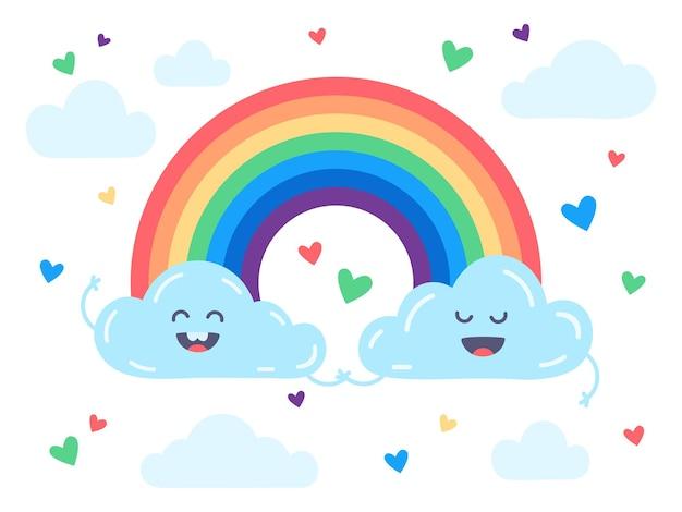 귀여운 구름과 무지개 평면 그림