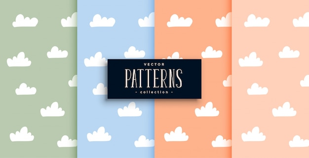 Cute clouds pattern set in pastel colors