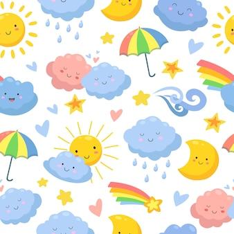 귀여운 구름 완벽 한 패턴입니다.
