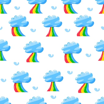 Cute clouds with rainbow in flat hand drawn pattern